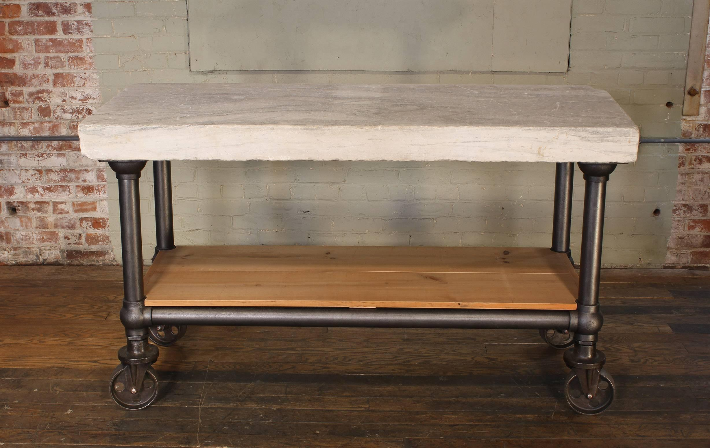 Industrial Marble Slab Kitchen Island Rolling Table at 1stdibs