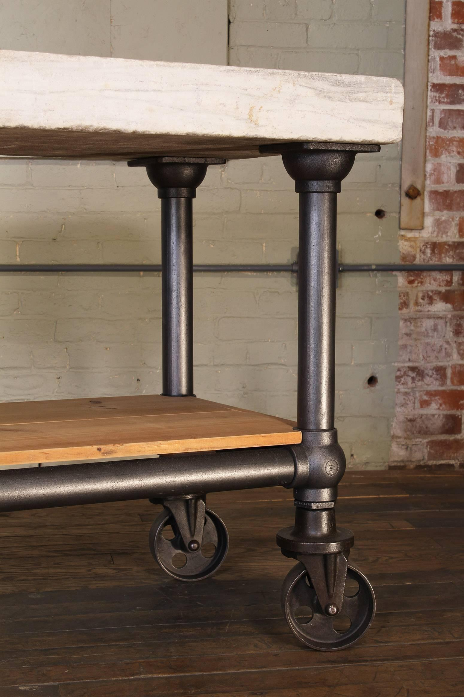 null & Industrial Marble Slab Kitchen Island Rolling Table at 1stdibs