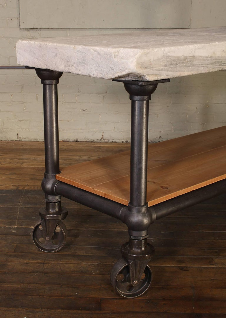Industrial Marble Slab Kitchen Island Rolling Table 1
