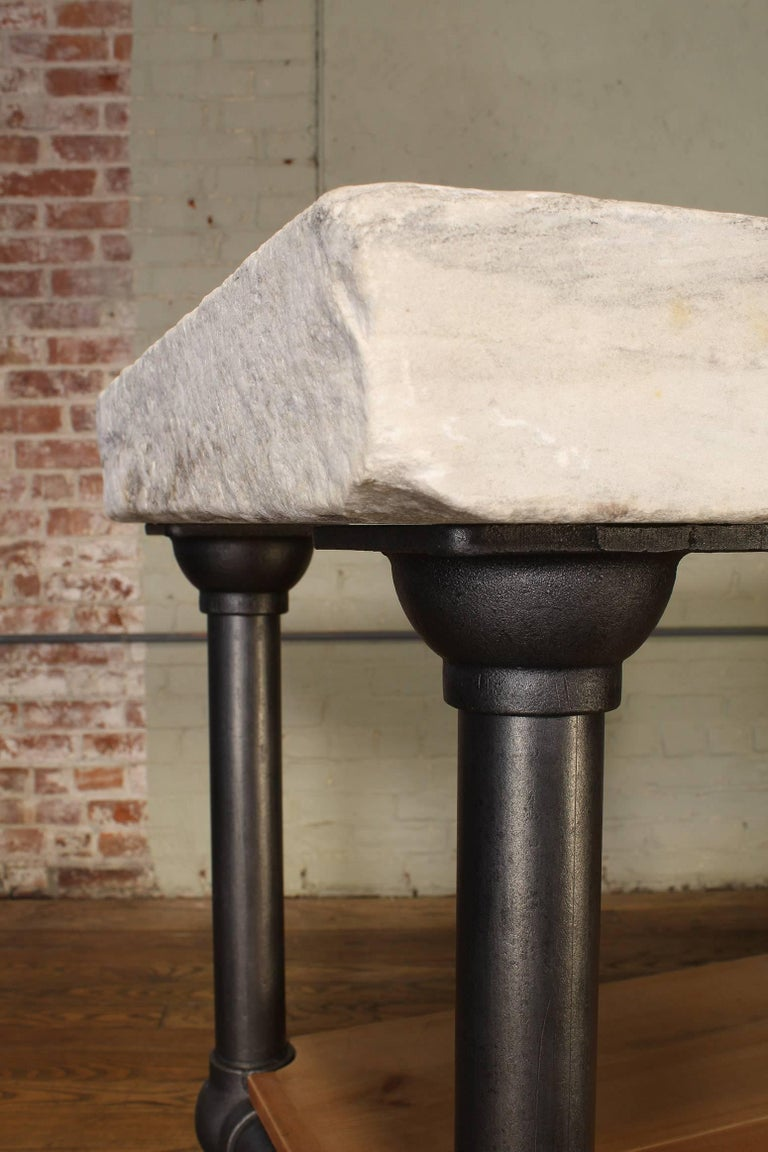 Industrial Marble Slab Kitchen Island Rolling Table In Distressed Condition In Oakville, CT