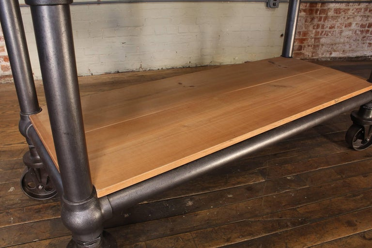 Contemporary Industrial Marble Slab Kitchen Island Rolling Table