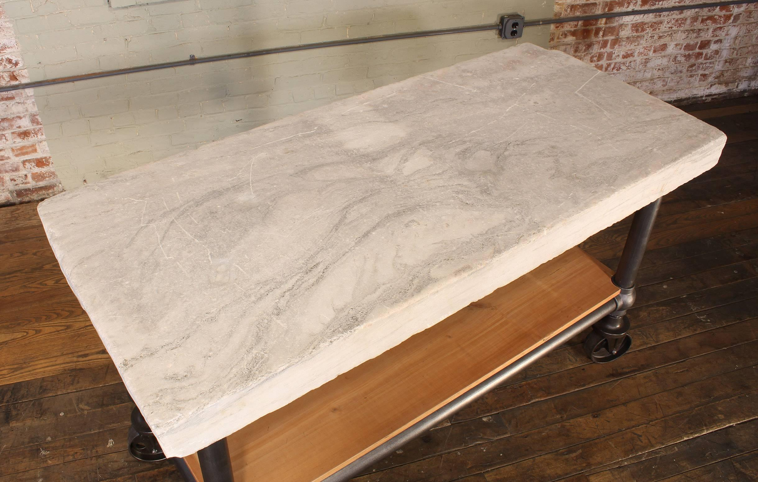 Iron Industrial Marble Slab Kitchen Island Rolling Table For Sale