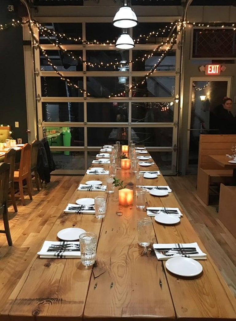Custom Dining Room Pine Table With Cast Iron Legs