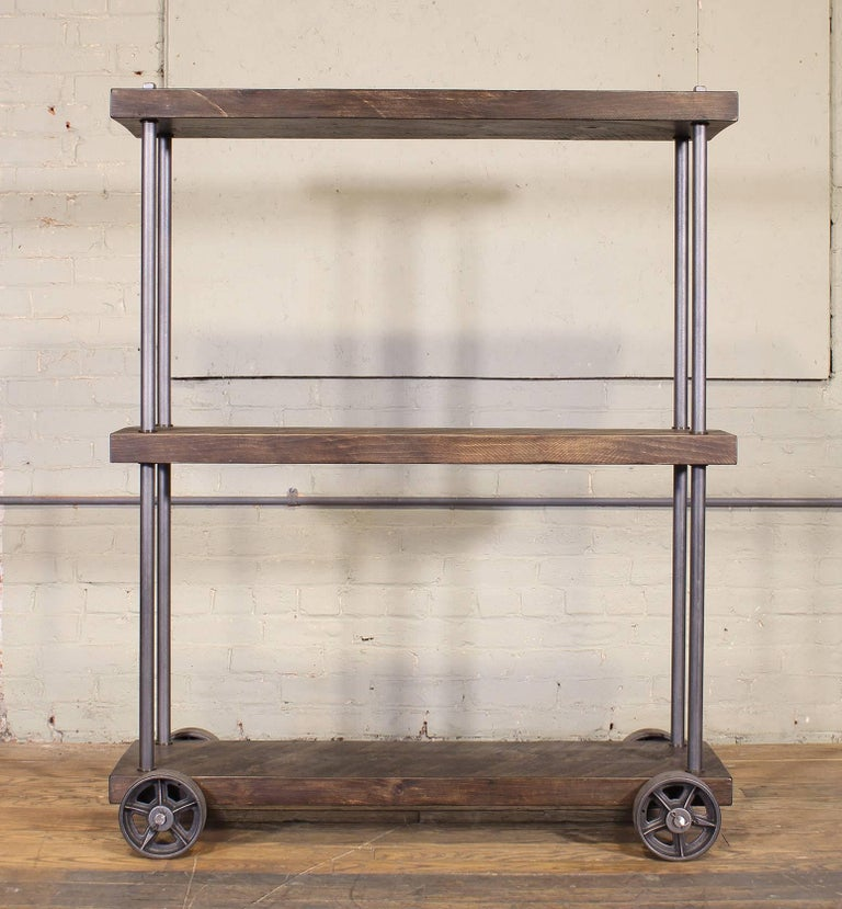 Industrial Rolling Shelving Storage Rack Bookcase, Rough Sawn Pine and Cast Iron For Sale 2