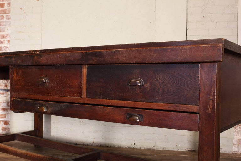 Vintage Wooden Draftsman's Desk, Table with Flat File Storage Distressed In Distressed Condition For Sale In Oakville, CT