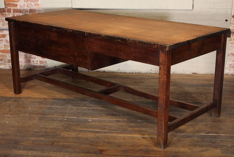 Vintage Wooden Draftsman's Desk, Table with Flat File Storage Distressed For Sale 3