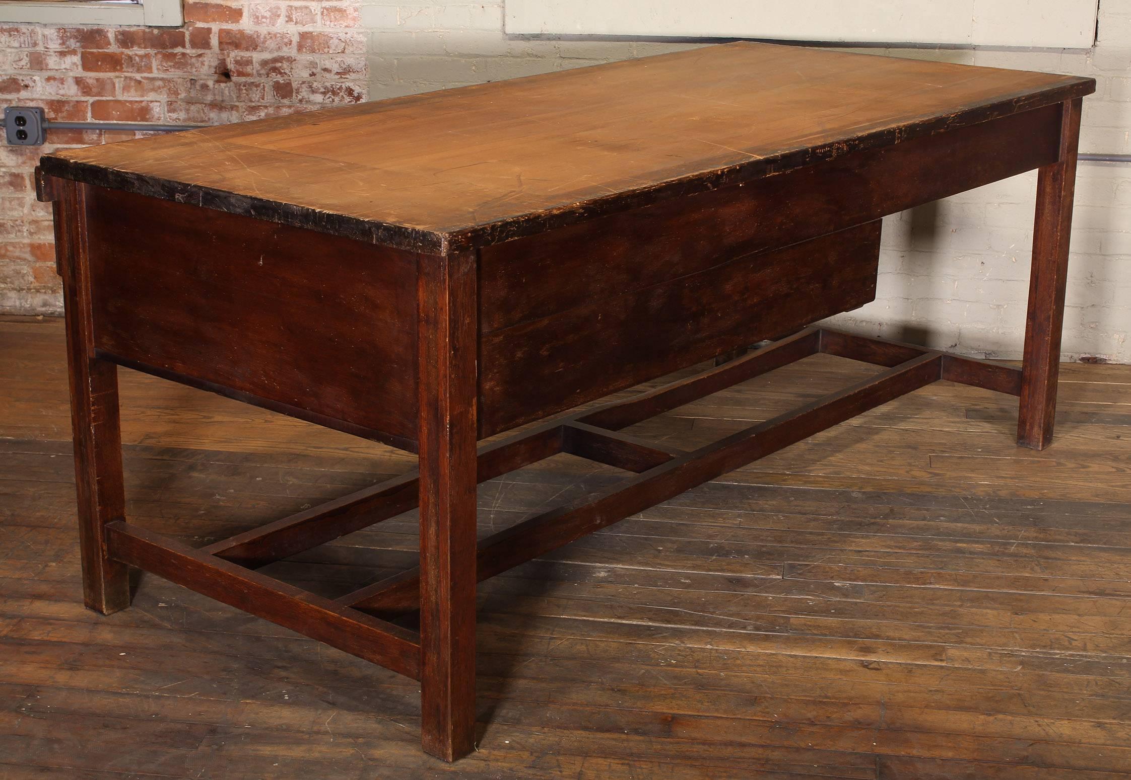 Vintage Wooden Draftsmanu0027s Desk, Table With Flat File Storage Distressed At  1stdibs