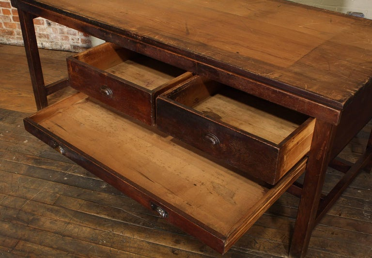 Vintage Wooden Draftsman's Desk, Table with Flat File Storage Distressed For Sale 5