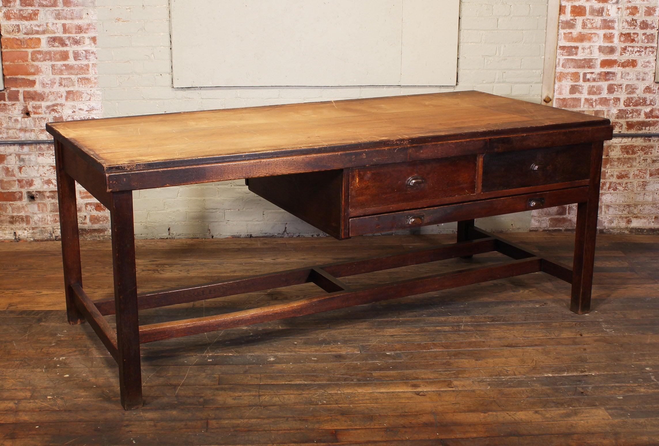 vintage wooden draftsman s desk table with flat file storage rh 1stdibs com vintage wood desk organizer vintage wood desk chair replacement parts