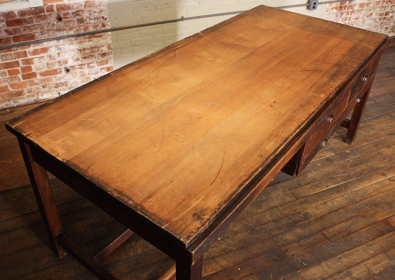 Vintage Wooden Draftsman's Desk, Table with Flat File Storage Distressed For Sale 2
