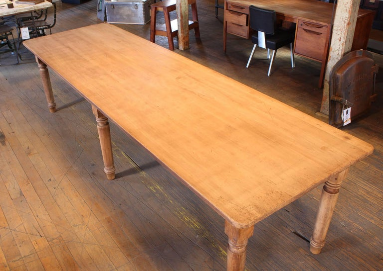 Vintage Refectory Farm Dining Table, Pine and Tulip Wood For Sale 1
