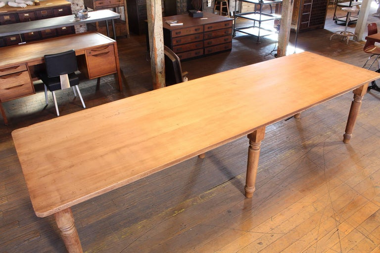 Vintage Refectory Farm Dining Table, Pine and Tulip Wood For Sale 2