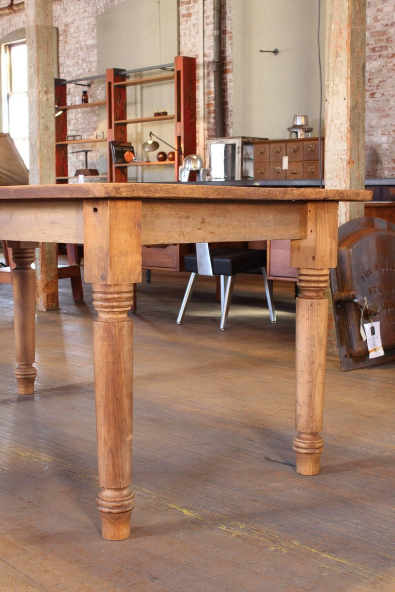 Vintage Refectory Farm Dining Table, Pine and Tulip Wood In Distressed Condition For Sale In Oakville, CT
