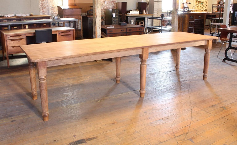 Vintage Refectory Farm Dining Table, Pine and Tulip Wood For Sale 3