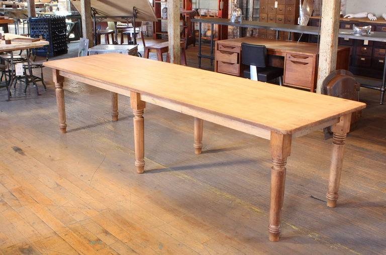 American Classical Vintage Refectory Farm Dining Table, Pine and Tulip Wood For Sale