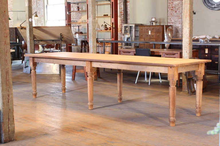 American Vintage Refectory Farm Dining Table, Pine and Tulip Wood For Sale