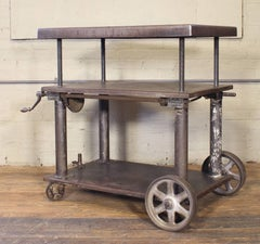 Bar Cart, Rolling Table Vintage Industrial Adjustable Steel Metal