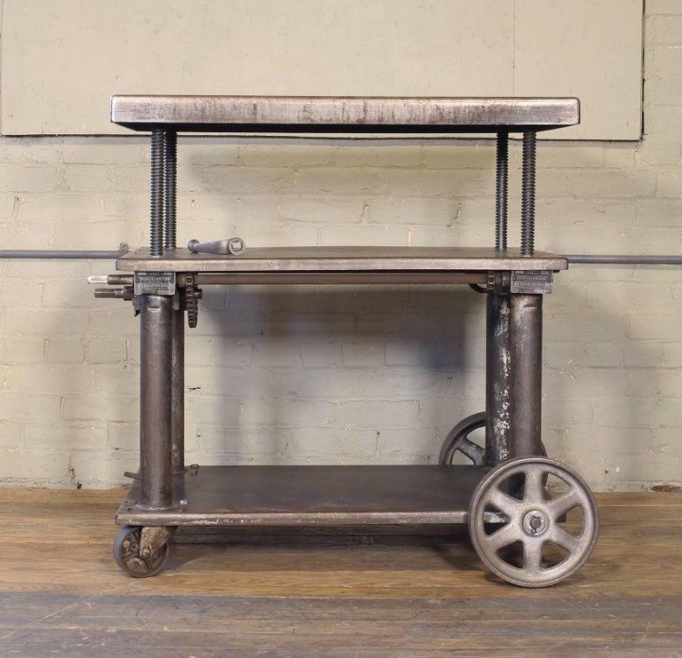 American Bar Cart, Rolling Table Vintage Industrial Adjustable Steel Metal