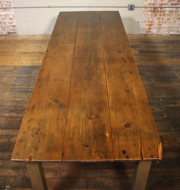 Rustic Farm Table Reclaimed Tobacco Sorting Harvest Wood from Connecticut For Sale