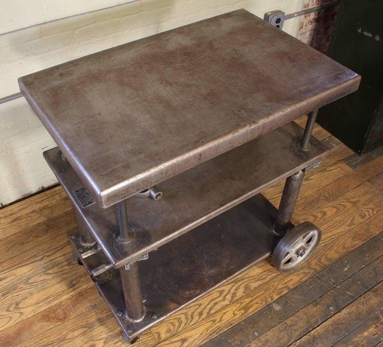 20th Century Bar Cart, Rolling Table Vintage Industrial Adjustable Steel Metal For Sale