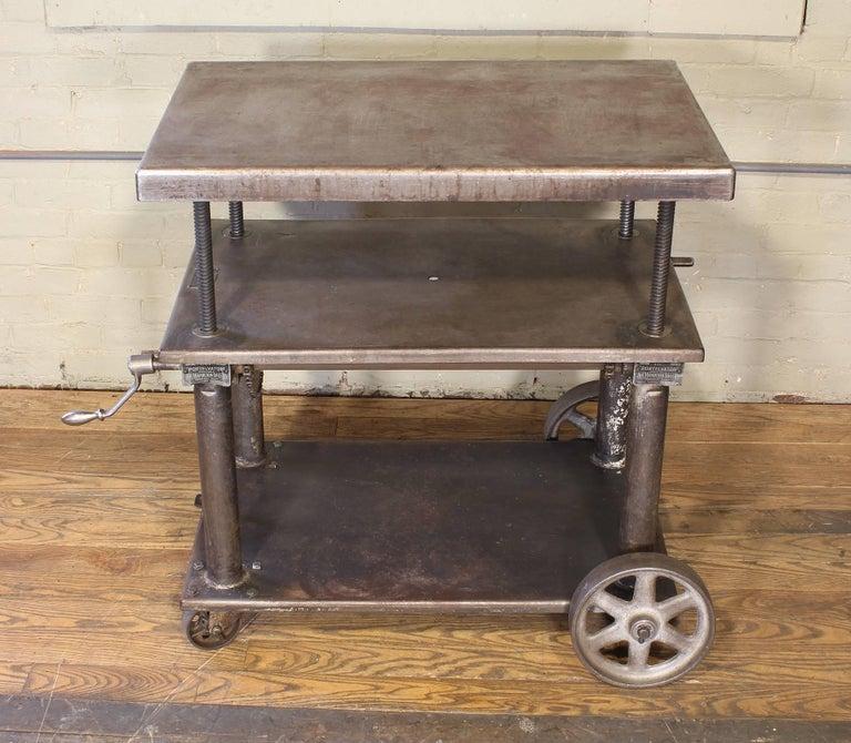 Bar Cart, Rolling Table Vintage Industrial Adjustable Steel Metal For Sale 1