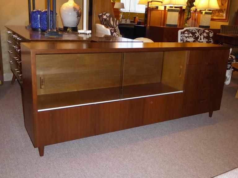 Bespoke 1950s Long Narrow Walnut Credenza by Robert Law Weed For Sale 3