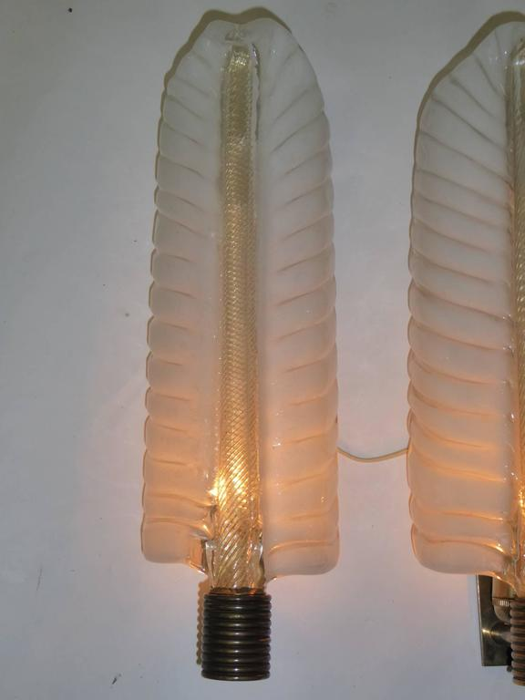 Italian 1940s Barovier e Toso Palm Leaf Sconces For Sale