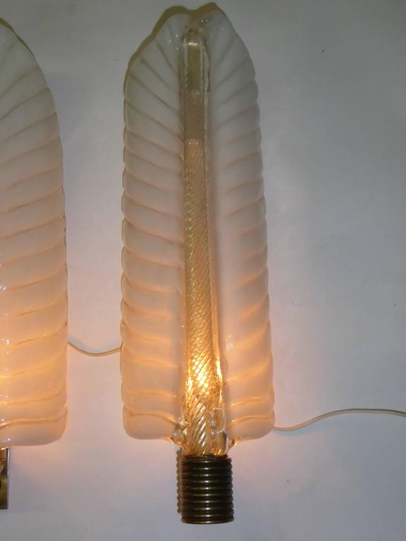 1940s Barovier e Toso Palm Leaf Sconces In Excellent Condition For Sale In Miami, FL