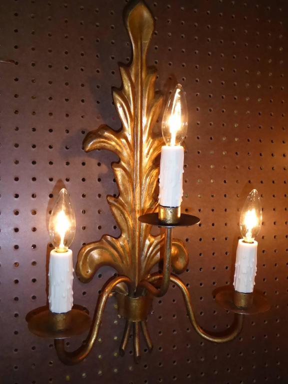Spanish Pair of Acanthus Leaf Gilt Metal Three-Candle Sconces For Sale