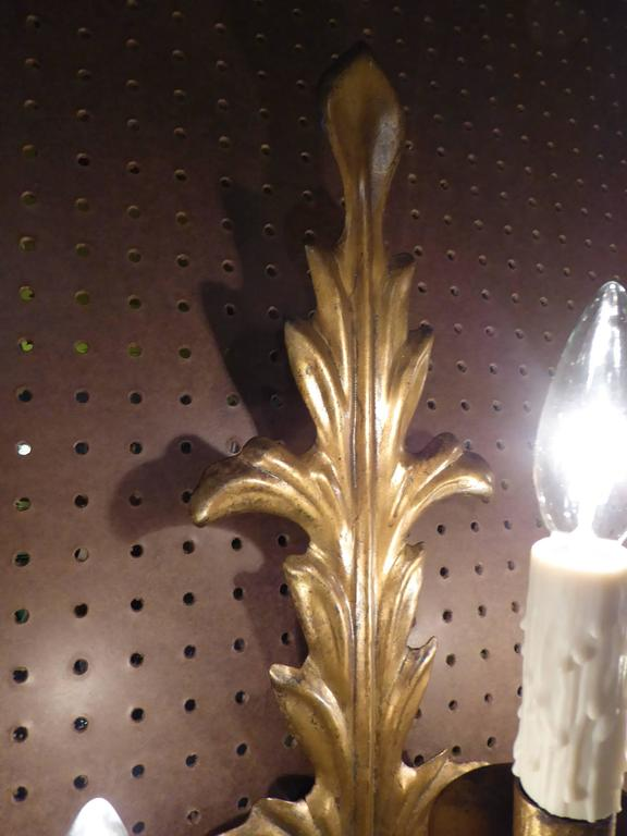 Pair of Acanthus Leaf Gilt Metal Three-Candle Sconces For Sale 2