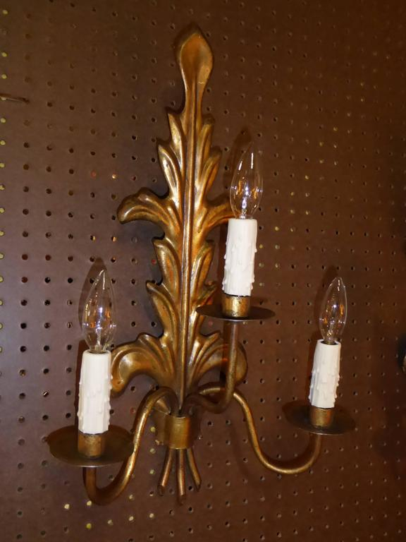 Mid-20th Century Pair of Acanthus Leaf Gilt Metal Three-Candle Sconces For Sale