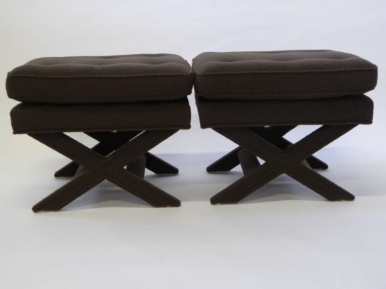 Hollywood Regency Billy Baldwin Style X-Benches in Dark Cocoa Boucle For Sale