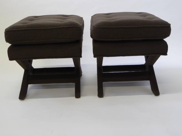 American Billy Baldwin Style X-Benches in Dark Cocoa Boucle For Sale
