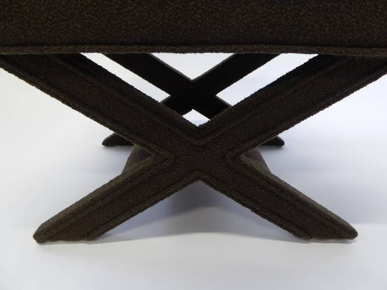 Mid-20th Century Billy Baldwin Style X-Benches in Dark Cocoa Boucle For Sale