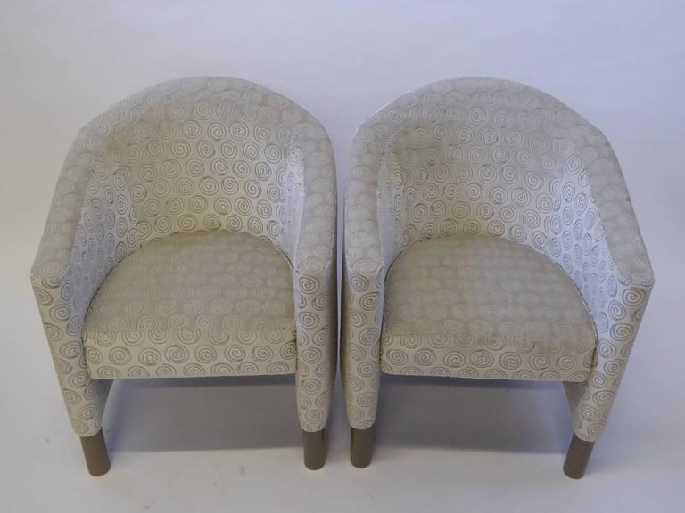 Velvet Pair of Club Chairs by Brayton International Collection For Sale