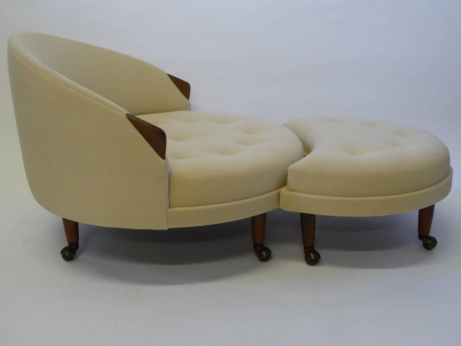 Superb Adrian Pearsall Round Lounge Chair with Fitted Ottoman at 1stdibs