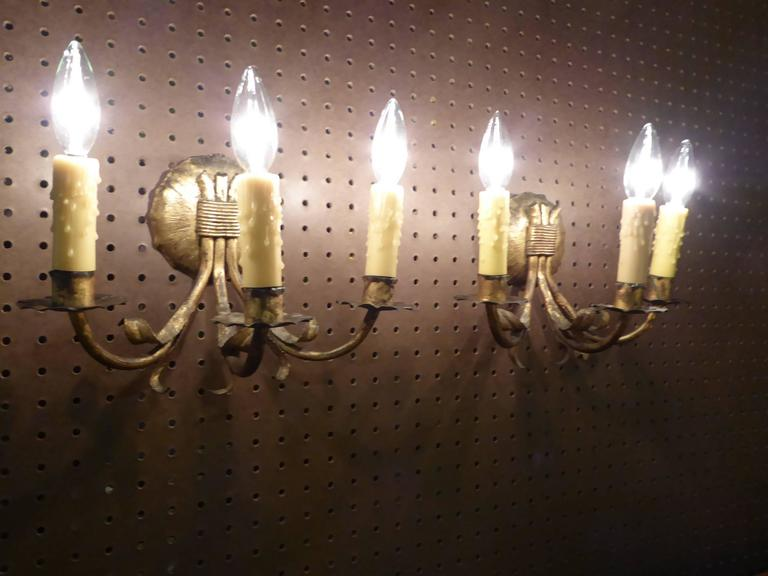 Spanish 1950s Neoclassical Gilt Metal Three Candle Sconces Barcelona For Sale