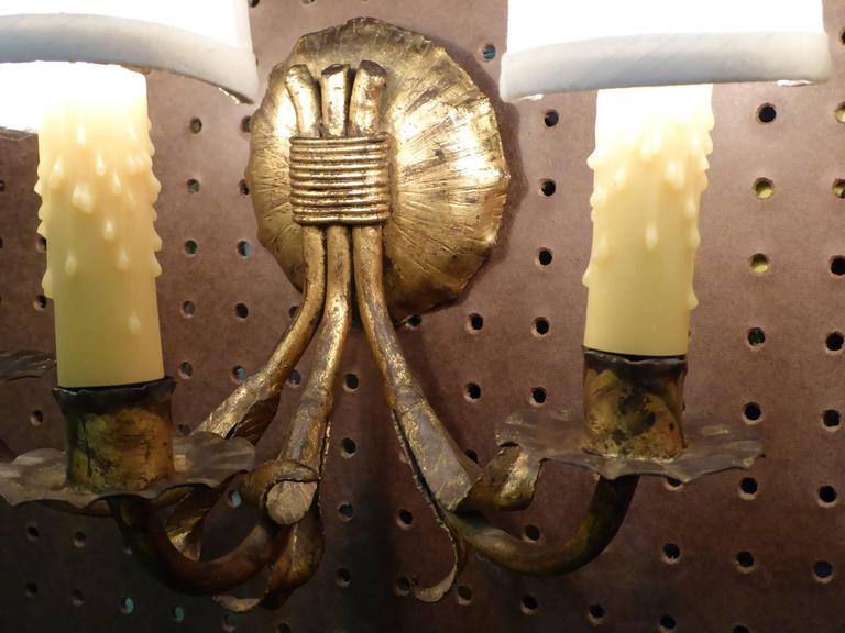 1950s Neoclassical Gilt Metal Three Candle Sconces Barcelona In Excellent Condition For Sale In Miami, FL