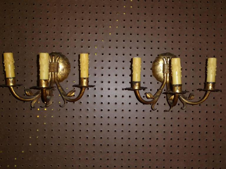 1950s Neoclassical Gilt Metal Three Candle Sconces Barcelona For Sale 2