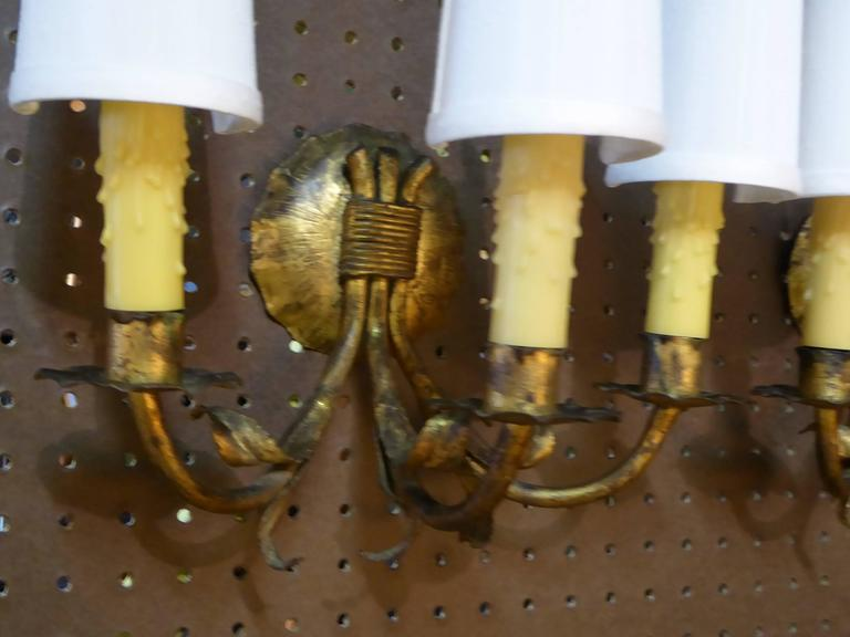1950s Neoclassical Gilt Metal Three Candle Sconces Barcelona 8
