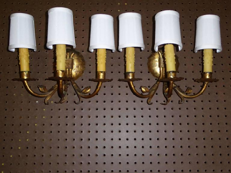 1950s Neoclassical Gilt Metal Three Candle Sconces Barcelona 2