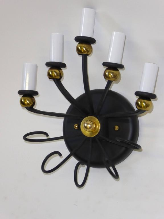 1950s Jean Royere Style Italian Five-Light Sconce 4