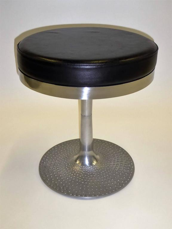 Mid-Century Carib Leather Swivel Stool by Ilmari Tapiovaara Finland 4
