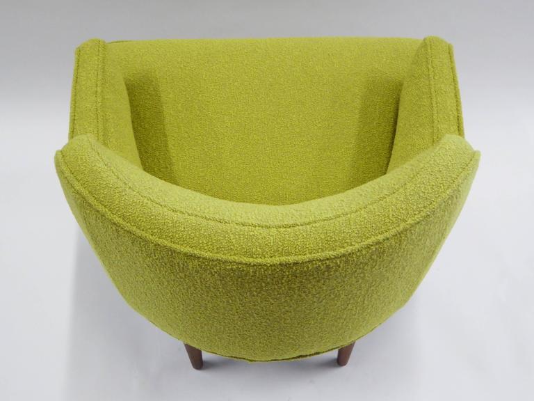 1950s Orla Molgaard Nielsen Style Boucle Upholstered Armchair For Sale 2