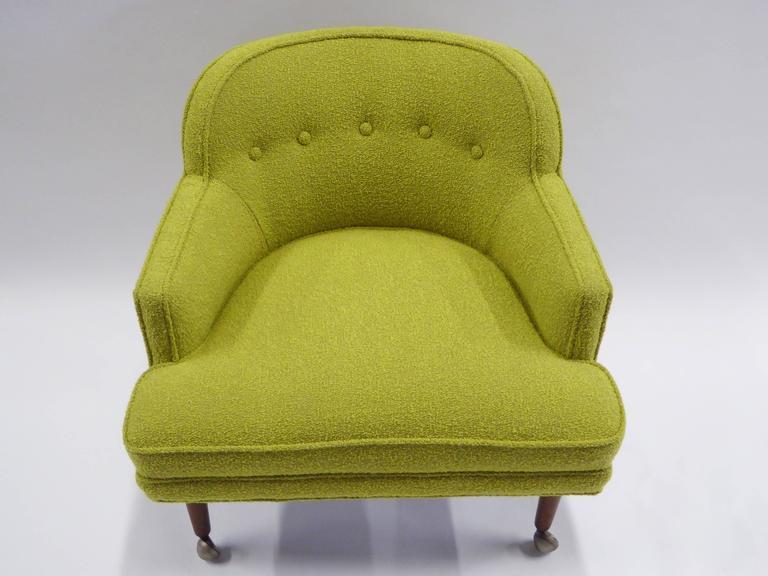 1950s Orla Molgaard Nielsen Style Boucle Upholstered Armchair For Sale 1