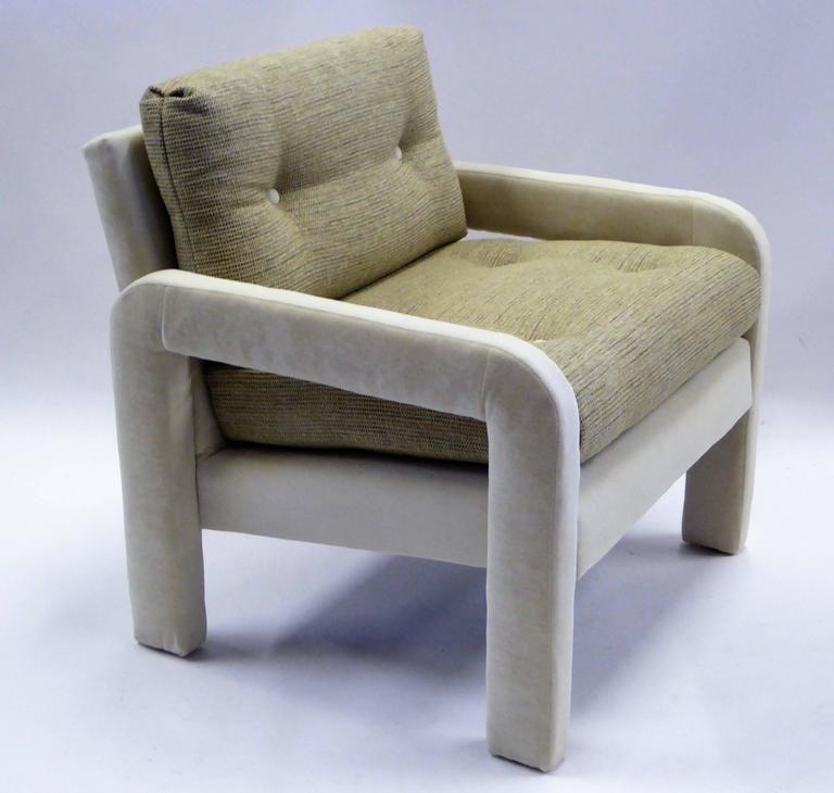 American 1970s Milo Baughman Style Upholstered Parsons Style Armchairs For Sale