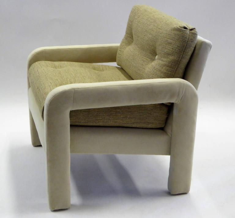 Late 20th Century 1970s Milo Baughman Style Upholstered Parsons Style Armchairs For Sale