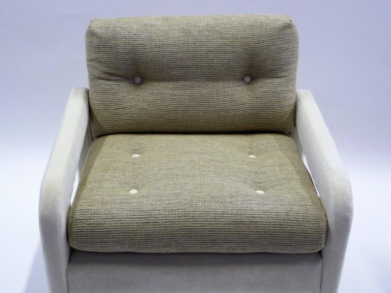 1970s Milo Baughman Style Upholstered Parsons Style Armchairs For Sale 2