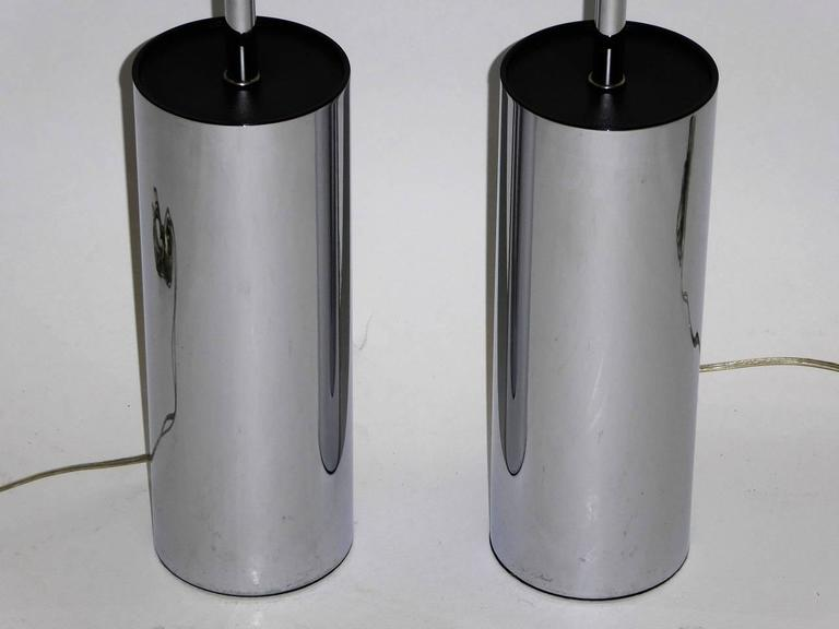 Pair of Robert Sonneman Chrome Cylinder Table Lamps for Kovacs 3