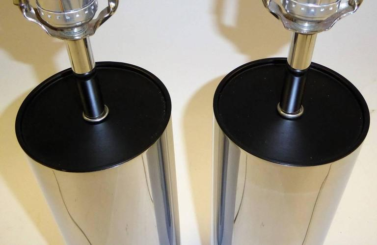 Pair of Robert Sonneman Chrome Cylinder Table Lamps for Kovacs 5